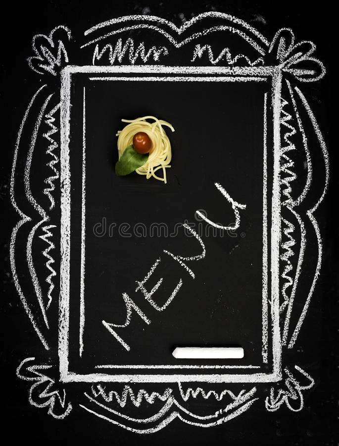 Restaurant menu on chalkboard royalty free stock images