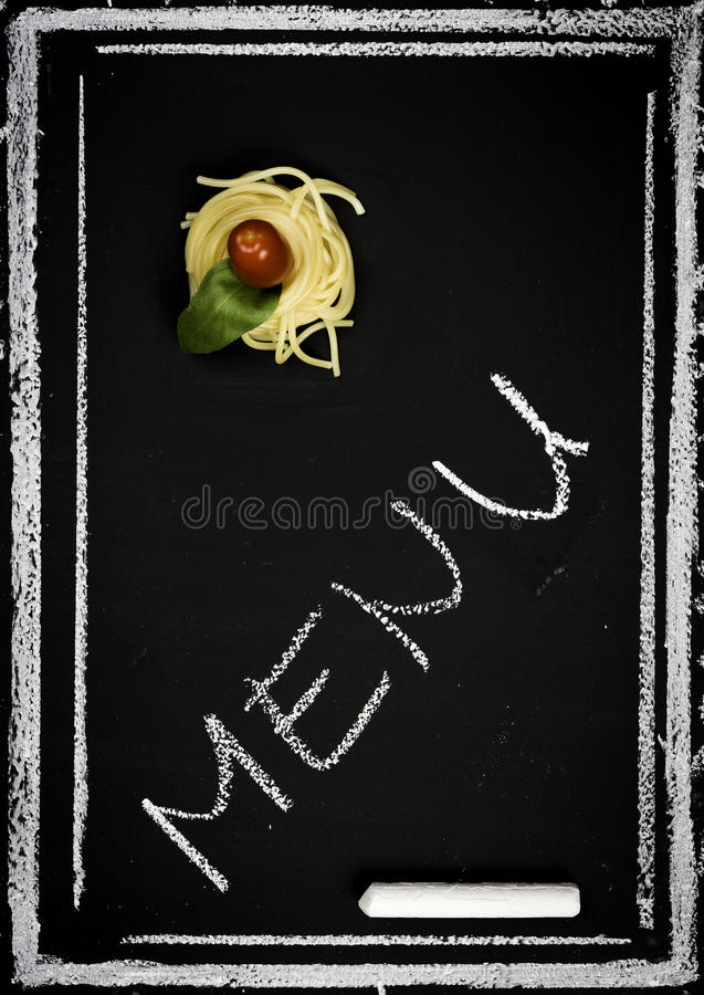 Restaurant menu on chalkboard stock photos