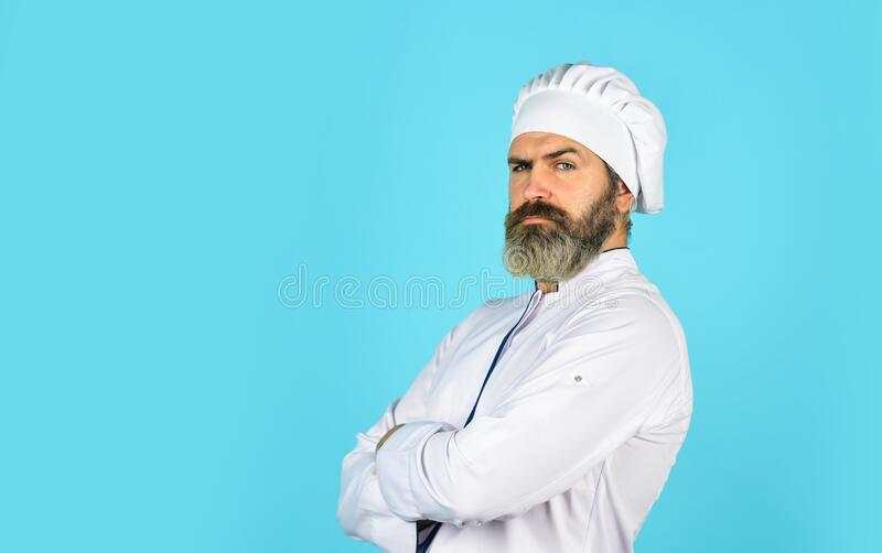 Restaurant menu copy space. Lunch meal. Restaurant dish. Delicious dessert. Cook chef in white uniform. Bearded mature stock photo