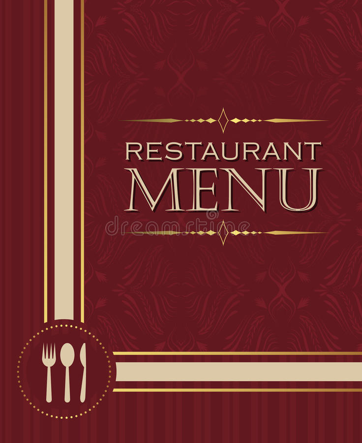 Restaurant menu design cover template in retro style