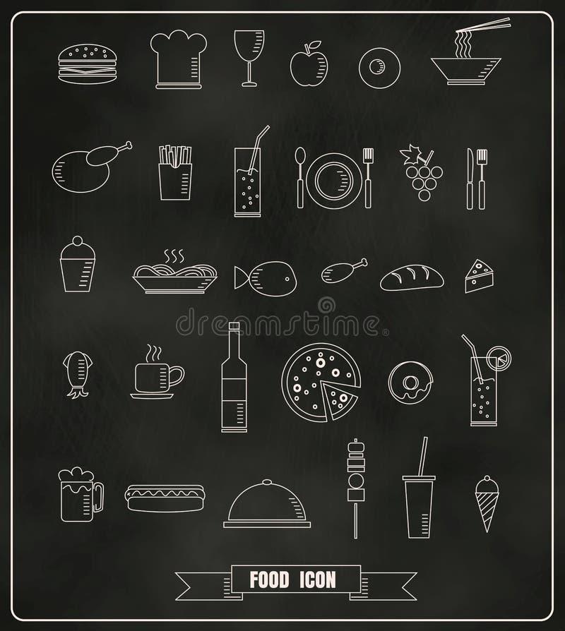 Restaurant menu design elements with chalk drawn food and