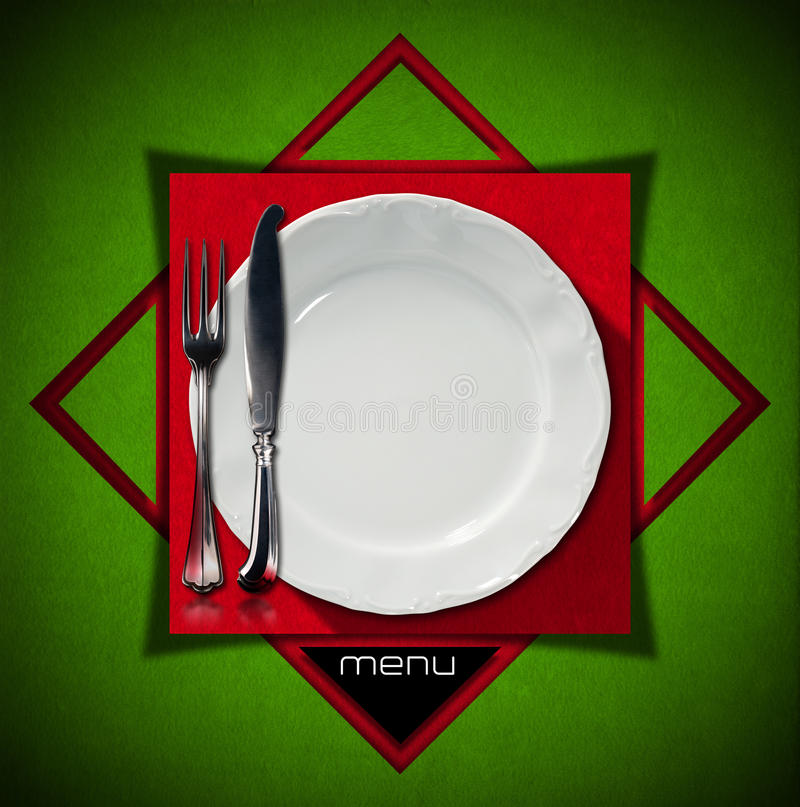 Red and green velvet background with geometric shapes square and triangles with empty plate and cutlery. Template for a restaurant food menu & Restaurant Menu Design stock illustration. Illustration of dinner ...