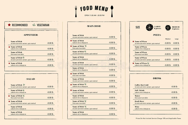 Restaurant Menu Design Template layout with logo stock illustration