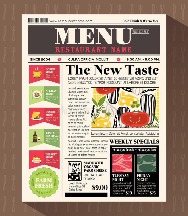 Restaurant Menu Design Template in Newspaper style stock illustration