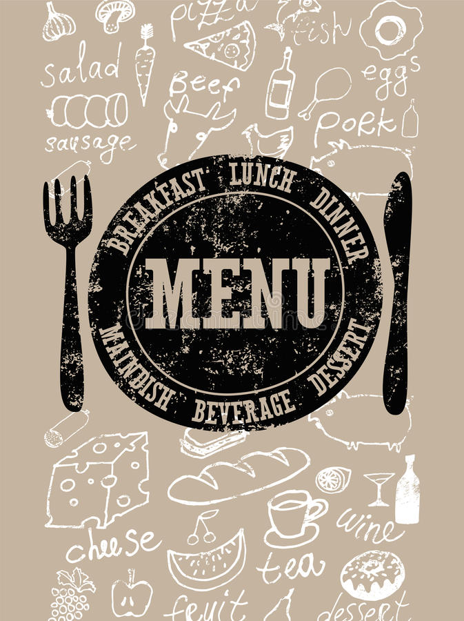 Restaurant menu design. Typographical retro poster with stamp and hand-drawn food. Vector illustration. stock illustration