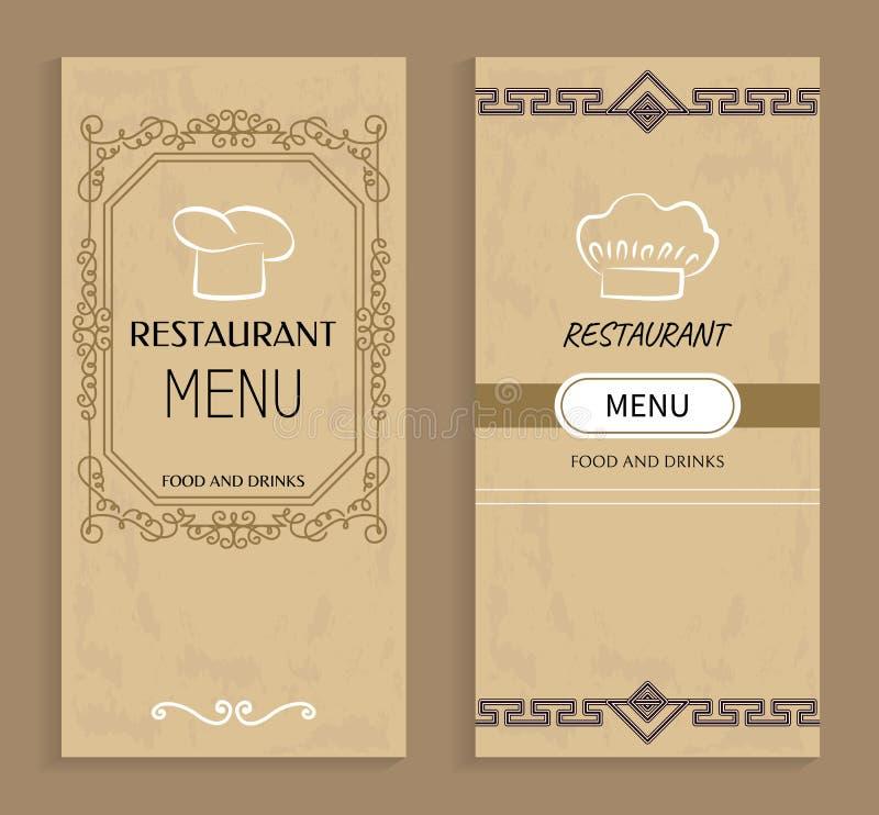 Restaurant Menu with Drinks and Food Templates. Menu of vintage design with chef hat logo. Prestigious restaurant menus covers vector illustrations vector illustration