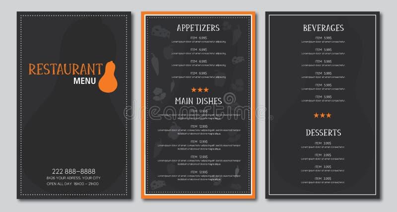 Restaurant menu flyer template. Design vector black and orange font outlined is Armata and Skrawk Seri vector illustration