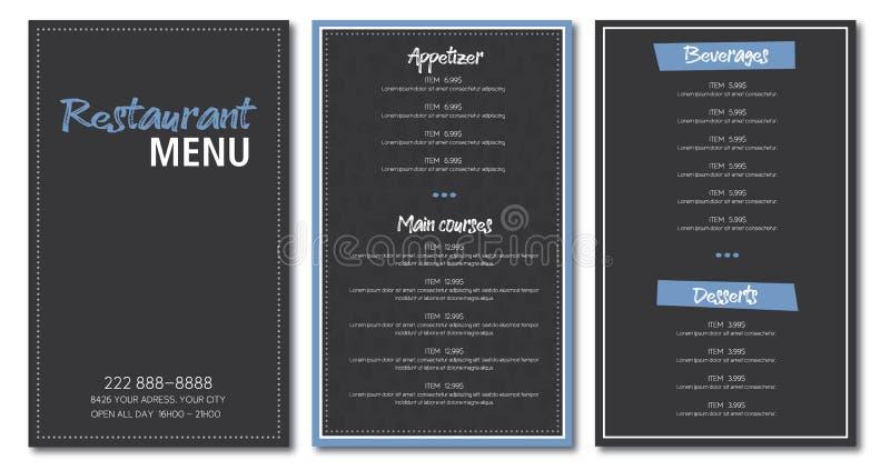 Restaurant menu flyer template design. Vector grey and blue vector illustration