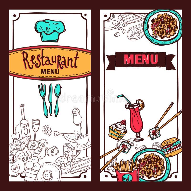 Restaurant Menu Food Banners Set Stock Vector Illustration Of