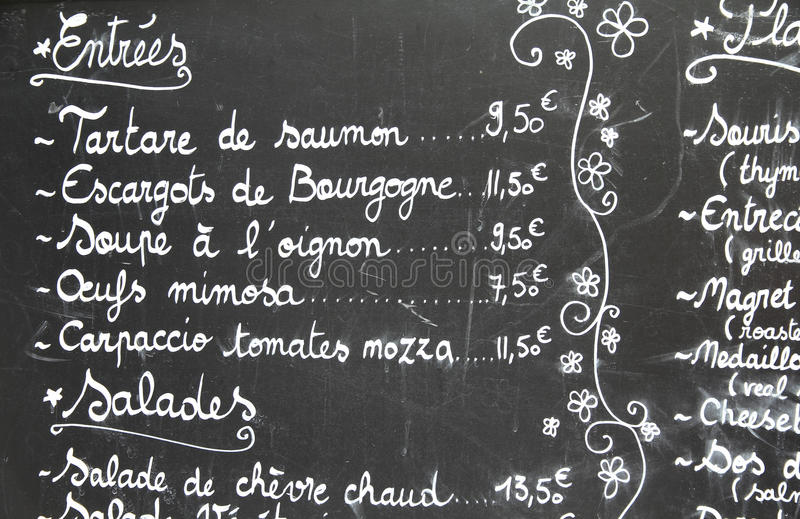 Restaurant menu in French royalty free stock images
