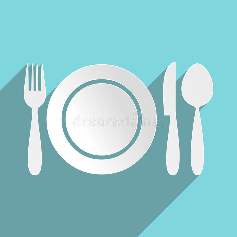 Restaurant menu icon. Plate with cutlery flat design