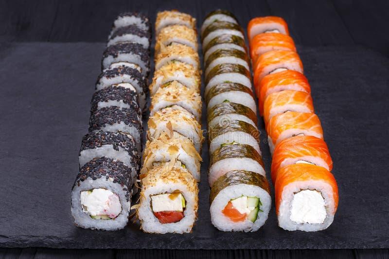 Restaurant menu, Japanese food art. Appetizing maki sushi set, s stock image
