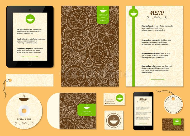 Restaurant menu with orange, lemon pattern. Citrus corporative identity vector background. Set of corporate identity templates royalty free stock photography