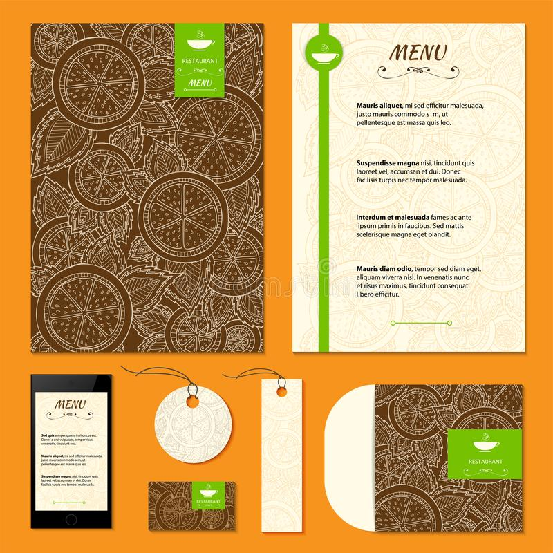 Restaurant menu with orange, lemon pattern. Citrus corporative identity vector background. Set of corporate identity templates royalty free stock images