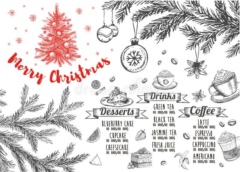 Christmas menu.Restaurant cafe menu, template design. Food flyer. Restaurant menu.Restaurant menu. Food flyer. Template design. Christmas menu. Restaurant menu stock illustration