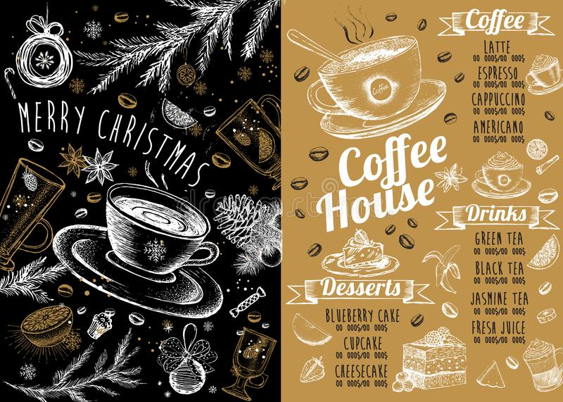 Christmas menu.Restaurant cafe menu, template design. Food flyer. Restaurant menu.Restaurant menu. Food flyer. Template design. Christmas menu. Restaurant menu royalty free illustration