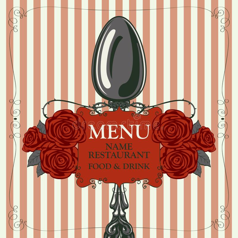 Restaurant menu with spoon and red roses royalty free illustration