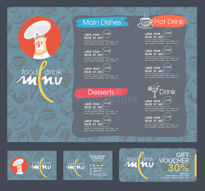 Restaurant menu template. Restaurant menu template and background stock illustration