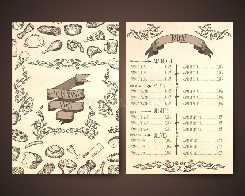 Restaurant menu template. Hand drawn vector illustrations vector illustration
