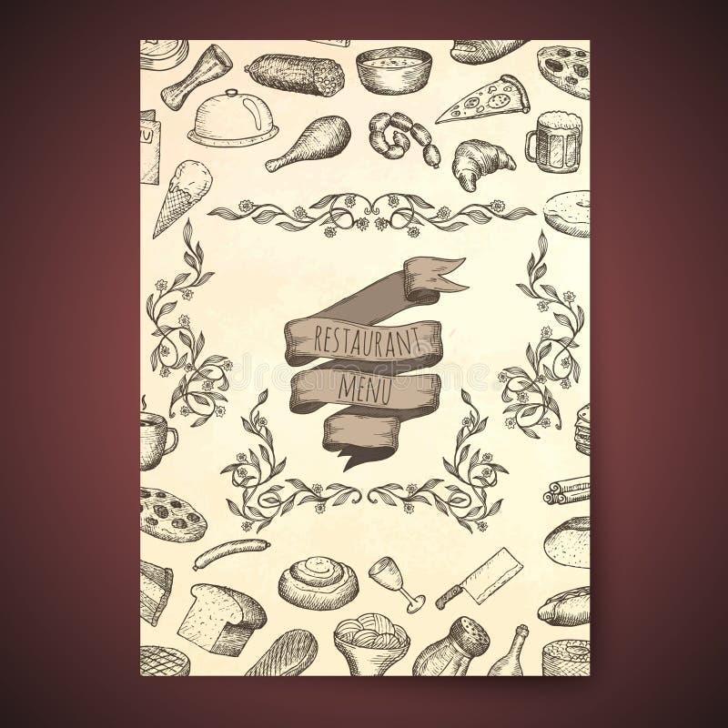 Restaurant menu template. Hand drawn vector illustrations royalty free illustration