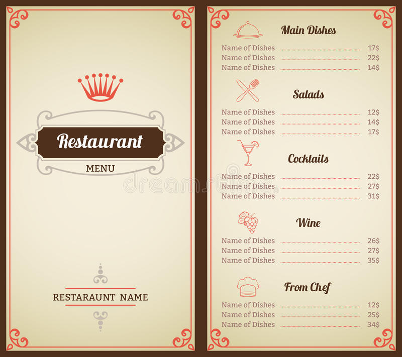 Restaurant Menu Template Stock Vector Illustration Of Creative