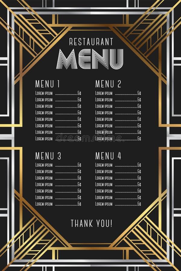 Restaurant menu template. Luxury Vintage Artdeco Frame Design. stock illustration