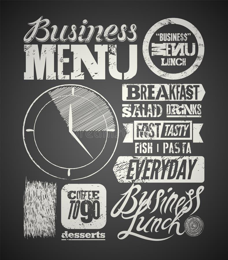 Restaurant menu typographic design on chalkboard. Vintage business lunch poster. Vector illustration. Restaurant menu typographic design on chalkboard. Vintage royalty free illustration