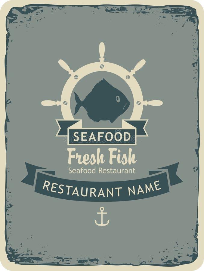 Restaurant met zeevruchten en vissenwinkels stock illustratie