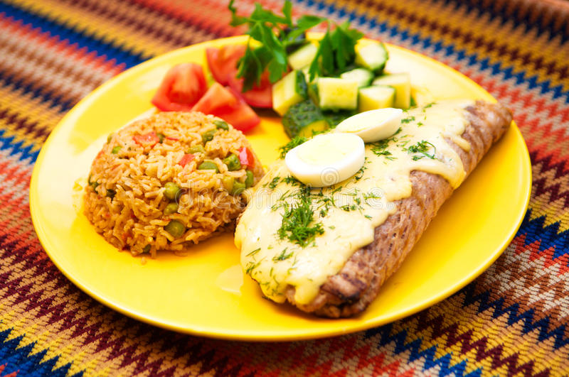 The restaurant mexican menu pork steak with egg and rice stock photography