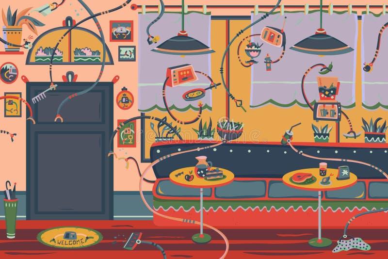 Restaurant mit Robotern stock abbildung