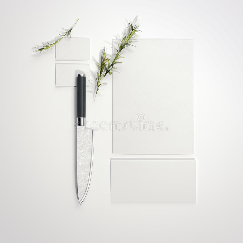 Restaurant mockup with sharp knife. 3d rendering. Restaurant mockup with sharp knife on bright floor. 3d rendering stock illustration
