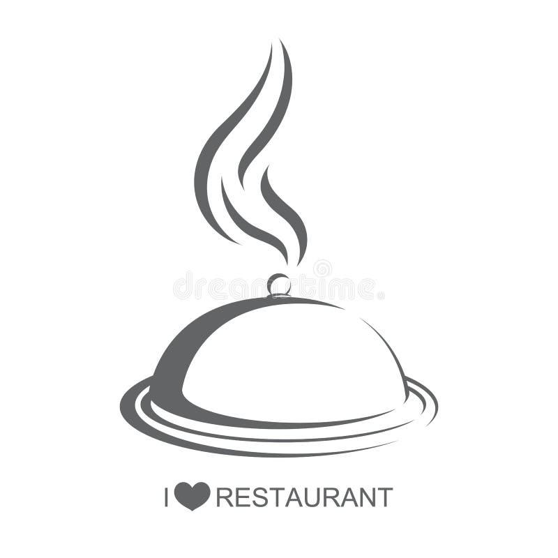 Restaurant, Nahrungsmittelservierplatte mit Abdeckung vektor abbildung