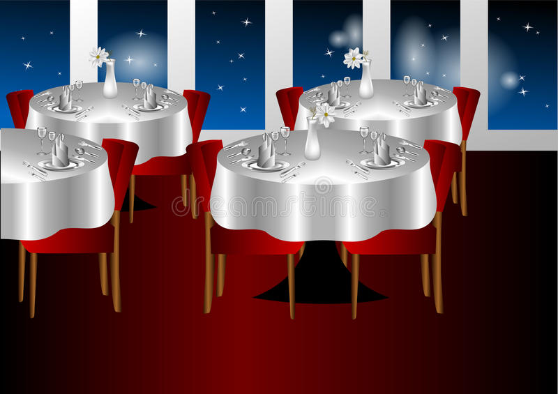 Restaurant night indoors. With a stars sky royalty free illustration