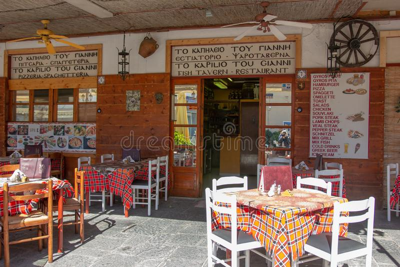 Restaurant in Old city of Rhodes, Greece stock image