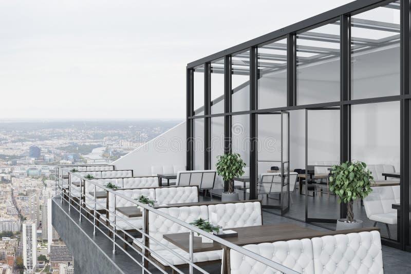 Restaurant op het dak, witte banken royalty-vrije illustratie