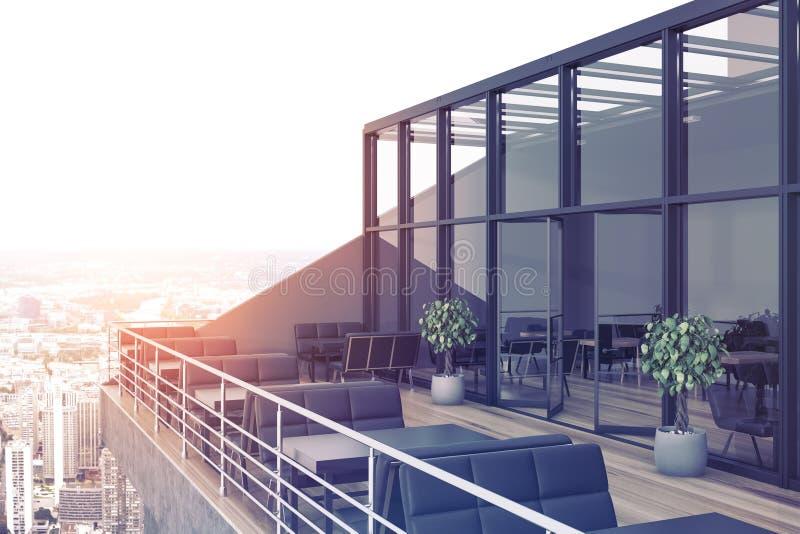 Restaurant op het dak, zwarte banken royalty-vrije illustratie