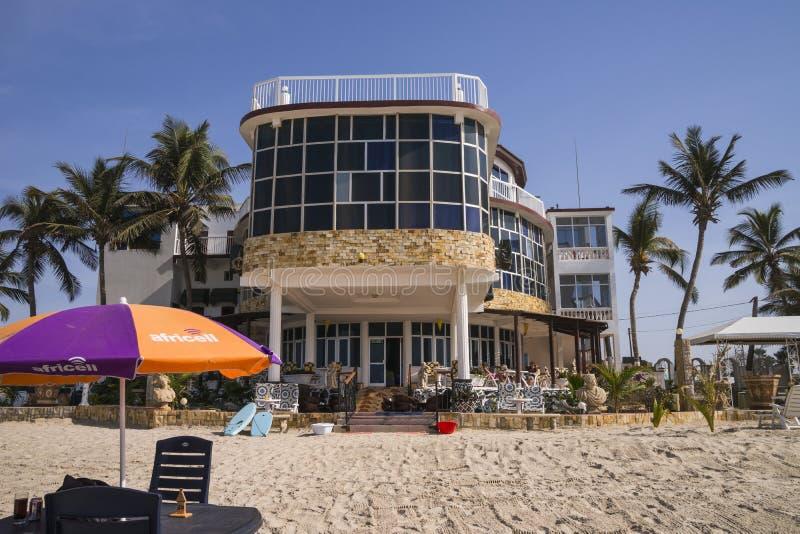 Restaurant op het strand stock foto