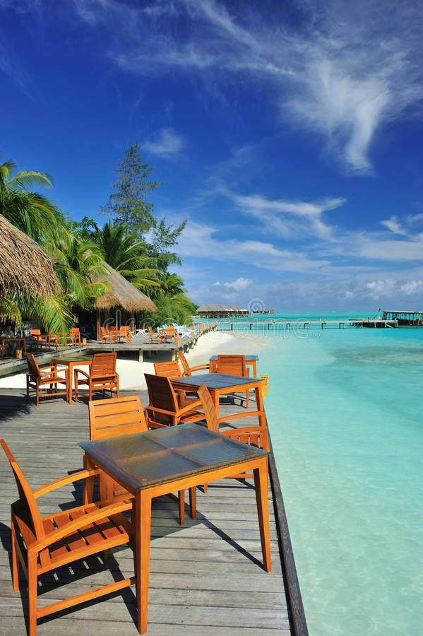 Restaurant op strand royalty-vrije stock foto