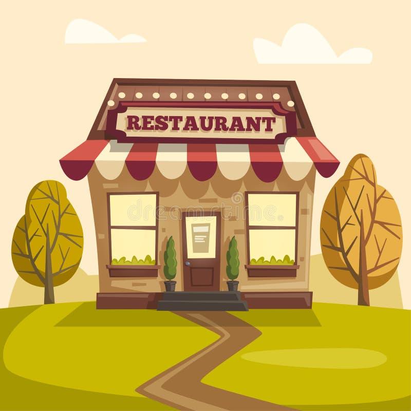 Restaurant ou café Bâtiment extérieur Illustration de dessin animé de vecteur illustration libre de droits
