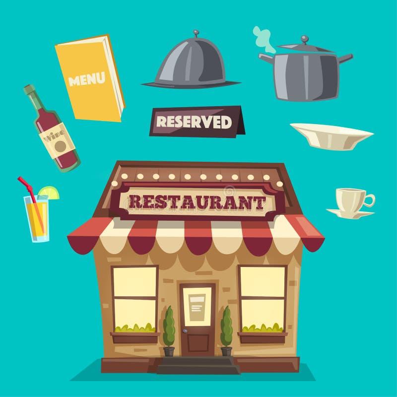 Restaurant ou café Bâtiment extérieur Illustration de dessin animé de vecteur illustration de vecteur