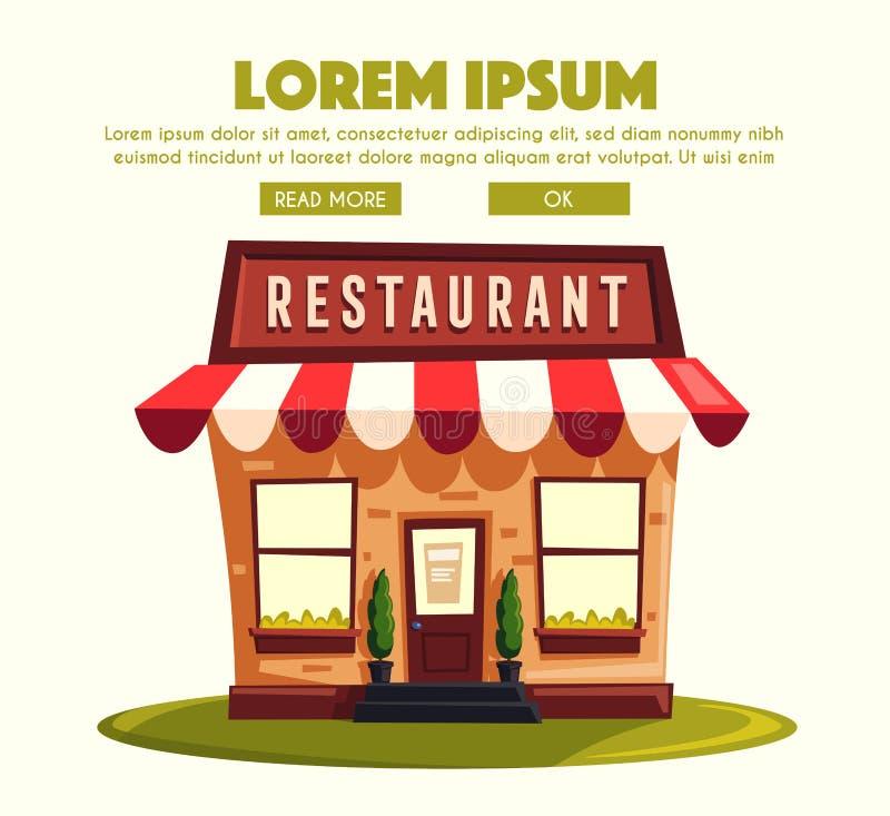 Restaurant ou café Bâtiment extérieur Illustration de dessin animé de vecteur illustration stock