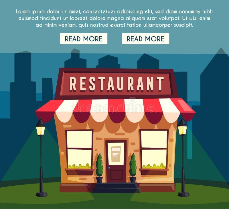Restaurant ou café la nuit Bâtiment extérieur Illustration de dessin animé illustration stock