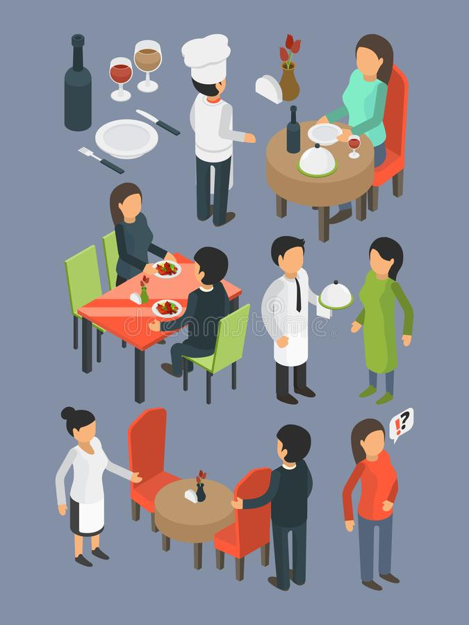 Restaurant people. Catering staff services buffet banquet hall event guests eating and drinking dinner bar food vector royalty free illustration