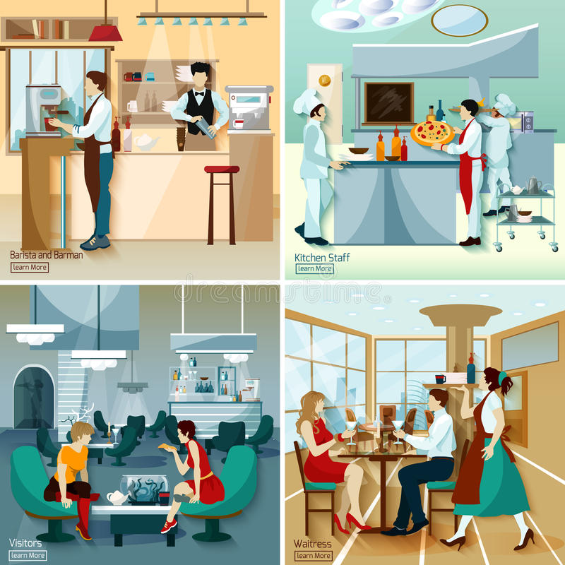 Restaurant People 2x2 Design Concept stock illustration