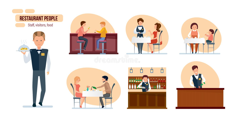 Restaurant people: friends in bar, bartender, waiter, mom and child royalty free illustration