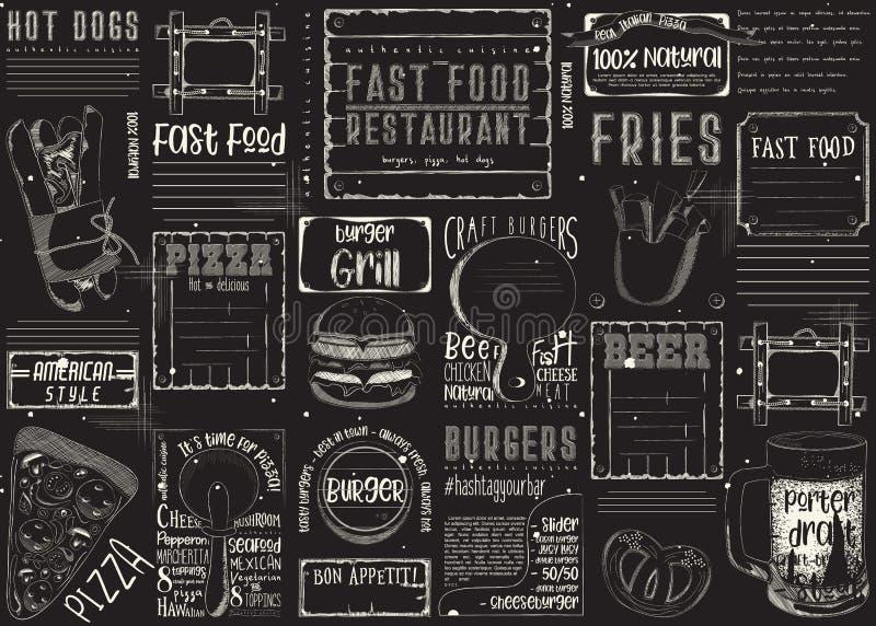 Restaurant Placemat d'aliments de préparation rapide illustration de vecteur