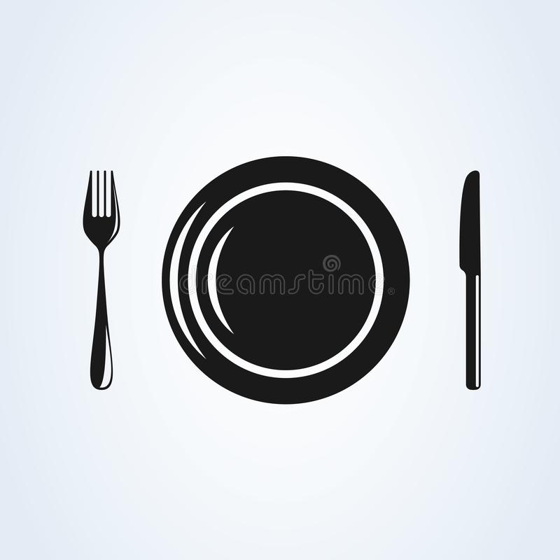 Restaurant  plate with cutlery  flat style. icon isolated on white background. Vector illustration vector illustration