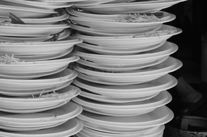 Restaurant plates signnify good place to eat stock photography