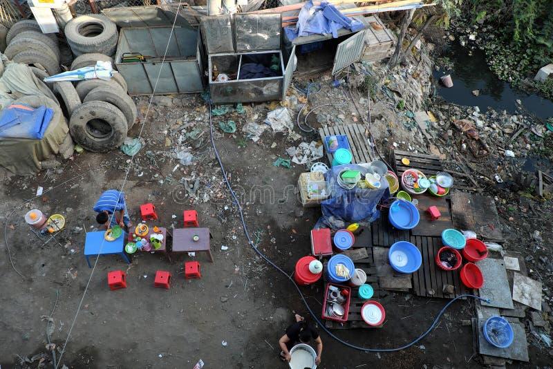 Restaurant, pollué, déchets, déchets, empoisonnement, pauvre images stock