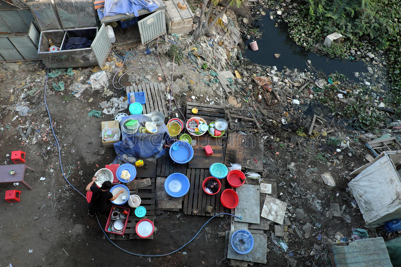 Restaurant, pollué, déchets, déchets, empoisonnement, pauvre photo stock